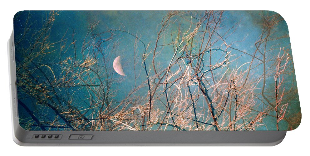 Moon Portable Battery Charger featuring the photograph The Messy House Of The Moon by Tara Turner