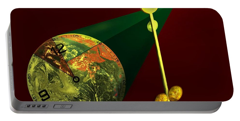 Earth Portable Battery Charger featuring the digital art The Metronome by Helmut Rottler