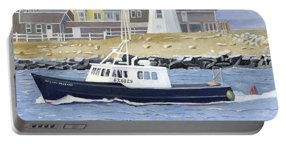 Fishingboat Portable Battery Charger featuring the painting The Michael Brandon by Dominic White