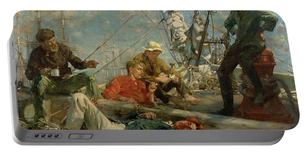 Marine; Ship; Resting; Break; Lying Down; Dozing; Talking; Conversation; Pipe; Mug; Mast; Deck; Marine; Old Salt; Newlyn School Portable Battery Charger featuring the painting The Midday Rest Sailors Yarning by Henry Scott Tuke