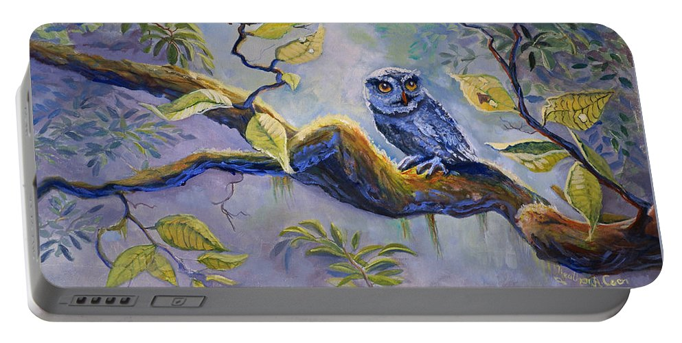 Birds Portable Battery Charger featuring the painting The Midnight Snack by Heather Coen