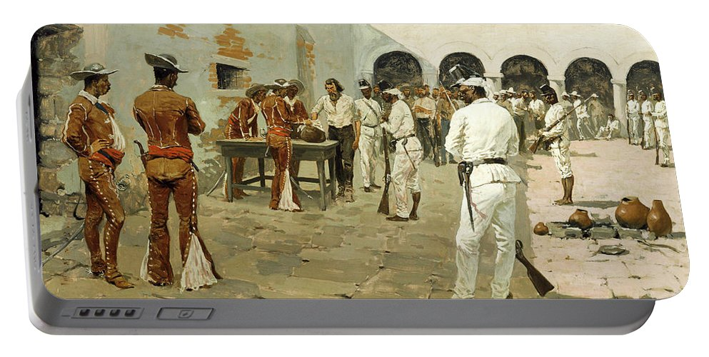 Expedition Portable Battery Charger featuring the painting The Mier Expedition-the Drawing Of The Black Bean by Frederic Sackrider Remington