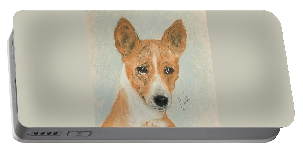 Basenji Portable Battery Charger featuring the drawing The Mighty Hunter by Cori Solomon