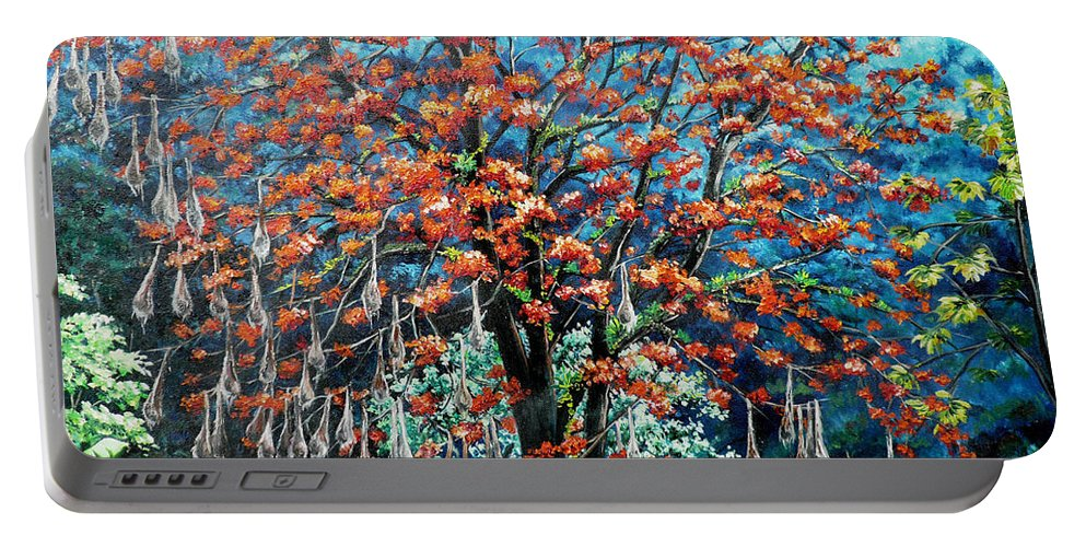 Tree Painting Mountain Painting Floral Painting Caribbean Painting Original Painting Of Immortelle Tree Painting  With Nesting Corn Oropendula Birds Painting In Northern Mountains Of Trinidad And Tobago Painting Portable Battery Charger featuring the painting The Mighty Immortelle by Karin Dawn Kelshall- Best