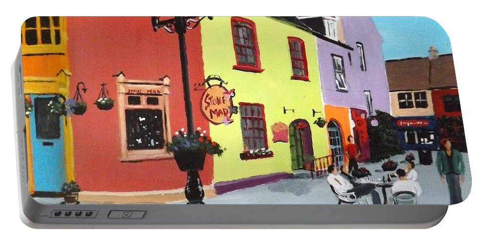 Kinsale Portable Battery Charger featuring the painting The Milk Market, Kinsale by Tony Gunning