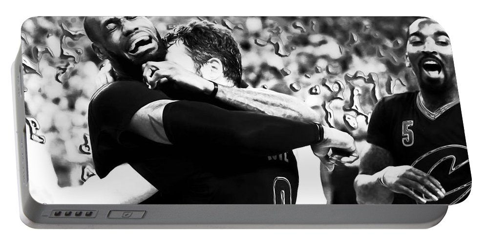 Lebron James Portable Battery Charger featuring the mixed media The Miracle At The Oracle 2 by Brian Reaves