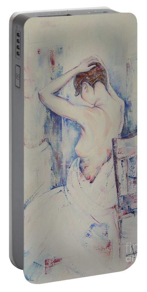 Oil Portable Battery Charger featuring the painting The Mirror by Jovica Kostic