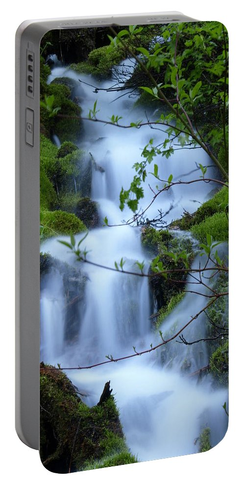 Water Portable Battery Charger featuring the photograph The Misty Brook by DeeLon Merritt