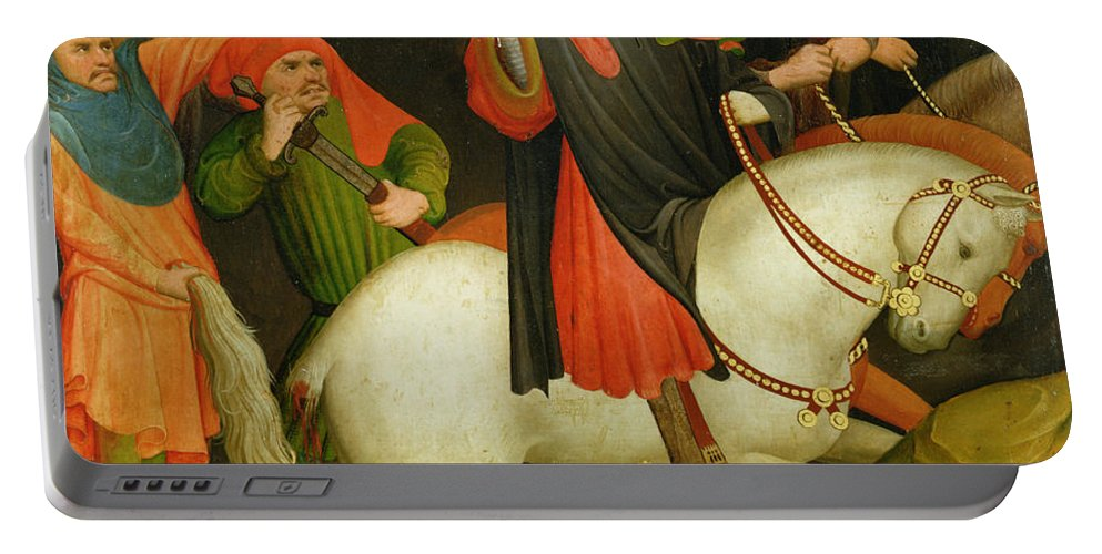 The Portable Battery Charger featuring the painting The Mocking Of Saint Thomas by Master Francke