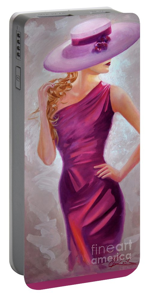 The Model Portable Battery Charger featuring the painting The Model by Michael Rock