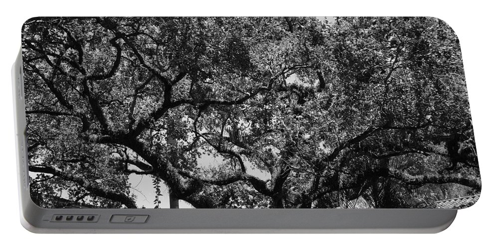 Black And White Portable Battery Charger featuring the photograph The Monastery Tree by Rob Hans