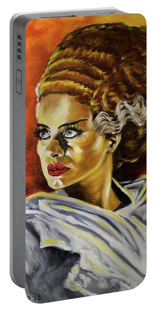 Bride Portable Battery Charger featuring the painting The Monster Demands A Mate by Michael Melillo
