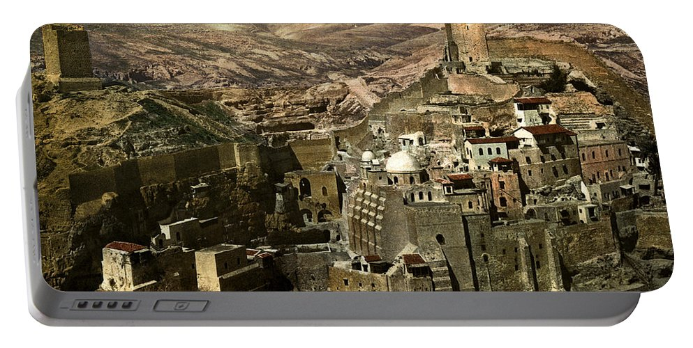 Mar Portable Battery Charger featuring the photograph The Monstery Of Mar Saba by Munir Alawi