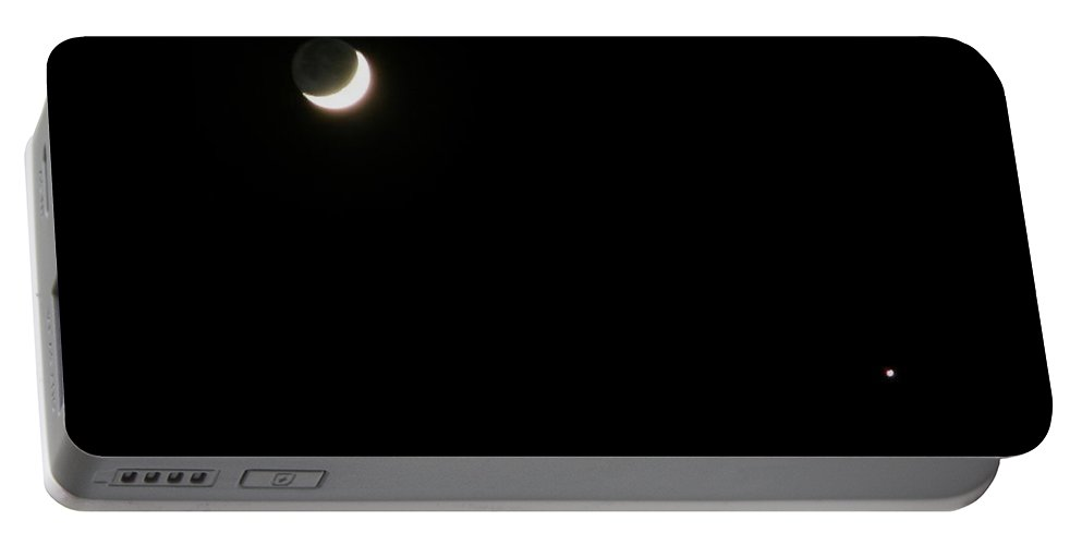Moon Portable Battery Charger featuring the photograph The Moon and Stars by Gale Cochran-Smith