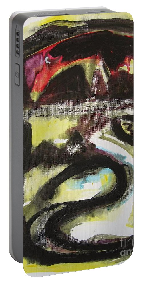 Abstract Paintings Portable Battery Charger featuring the painting The Moon Compassionate by Seon-Jeong Kim