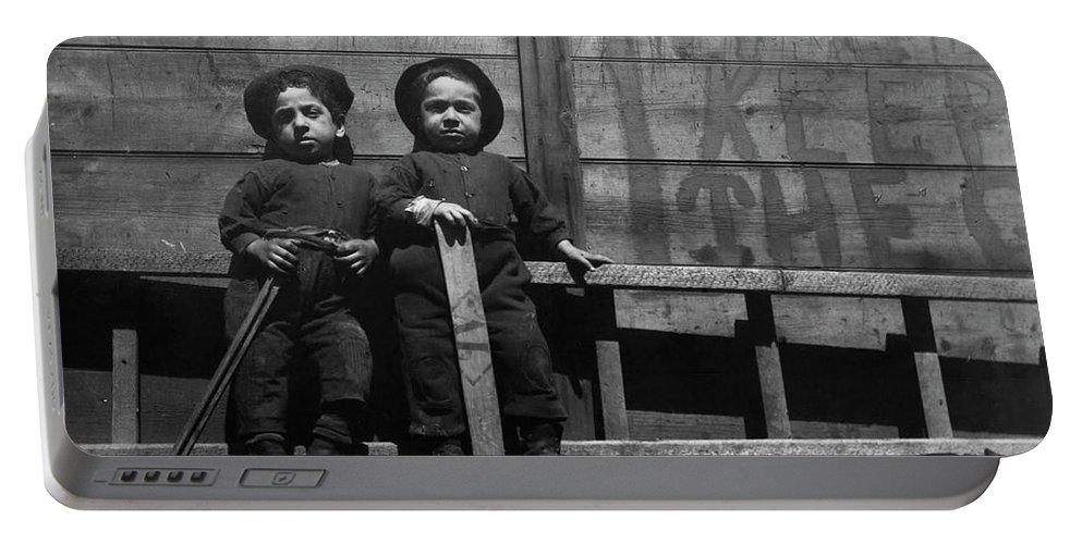 1890c The Mott Street Boys Portable Battery Charger featuring the painting The Mott Street Boys by Jacob Riis