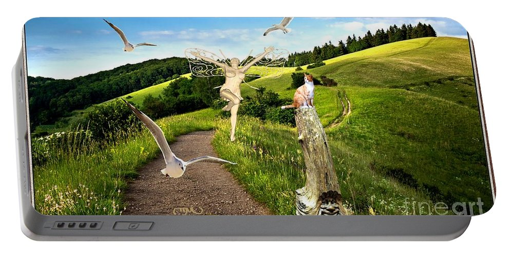 Modern Painting Portable Battery Charger featuring the mixed media The Mountain Road 1 by Pemaro