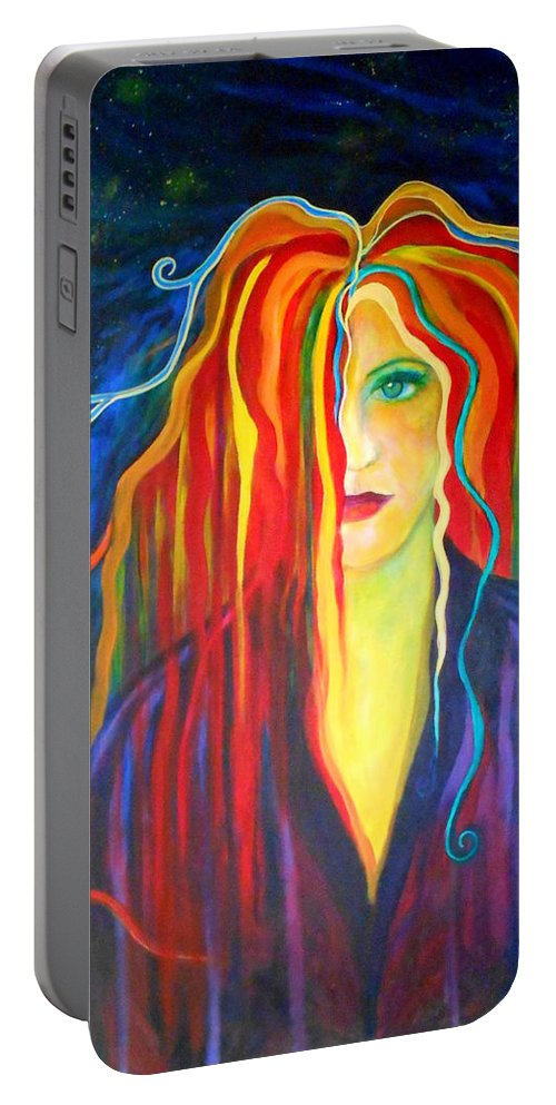 Muse Portable Battery Charger featuring the painting Melt Down by Carolyn LeGrand