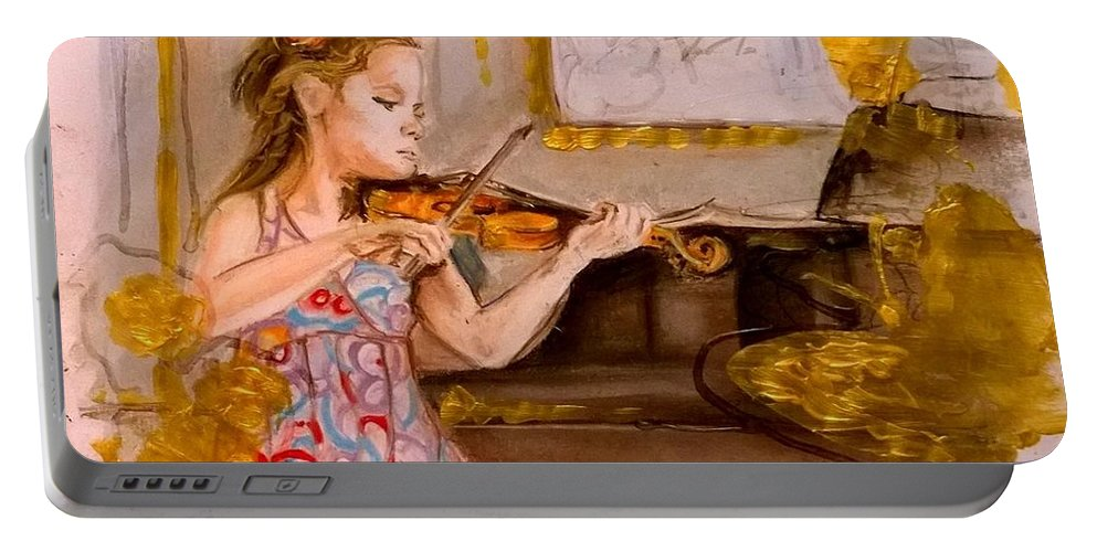 Soft Pastel Portable Battery Charger featuring the painting The Music Of Silence by Agnes V