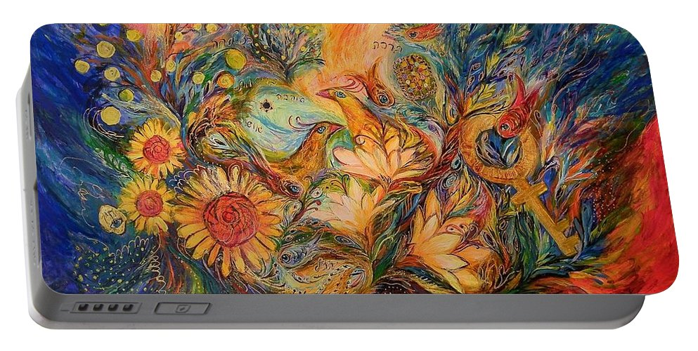 Original Portable Battery Charger featuring the painting The Mystery Of Orange Tree by Elena Kotliarker