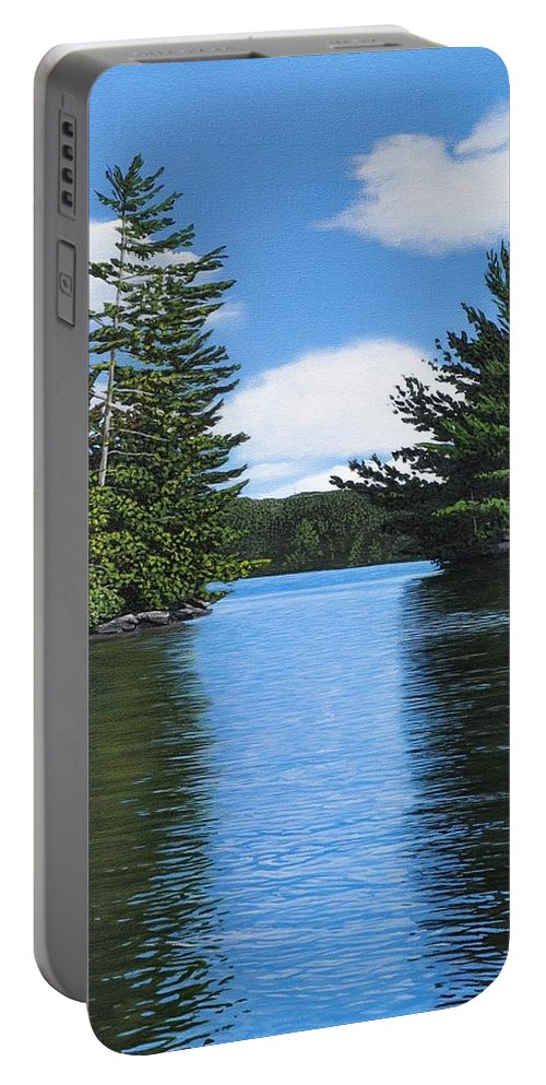 Landscapes Portable Battery Charger featuring the painting The Narrows Of Muskoka by Kenneth M Kirsch
