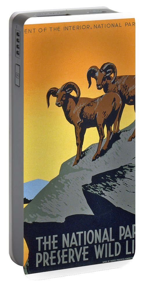 National Parks Portable Battery Charger featuring the painting The National Parks Preserve Wild Life by Long Shot