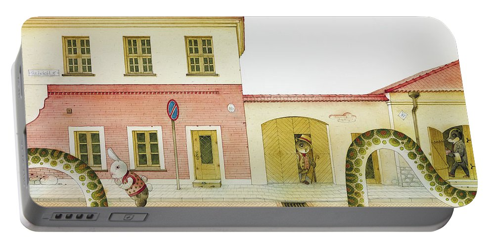 Snake Street Illustration Watercolor Children Book Old Town Rabbit Portable Battery Charger featuring the painting The Neighbor around the Corner04 by Kestutis Kasparavicius