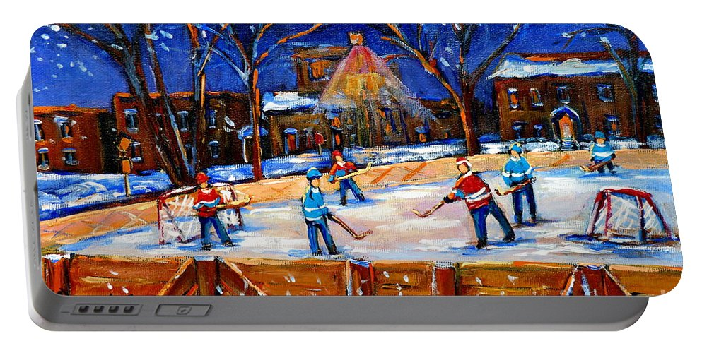 Montreal Portable Battery Charger featuring the painting The Neighborhood Hockey Rink by Carole Spandau