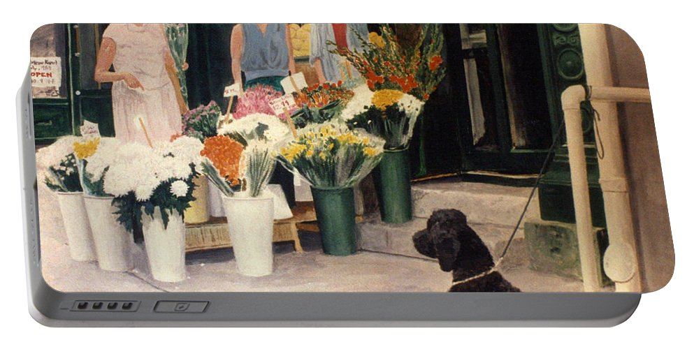Mums Portable Battery Charger featuring the painting The New Deal by Steve Karol