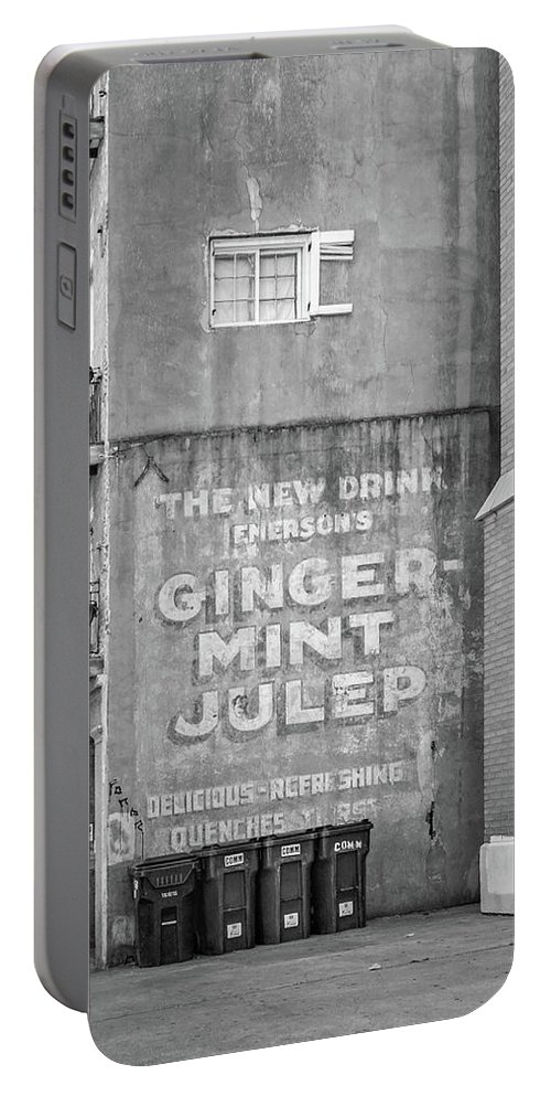 Nola Portable Battery Charger featuring the photograph The New Drink Monochrome by Steve Harrington