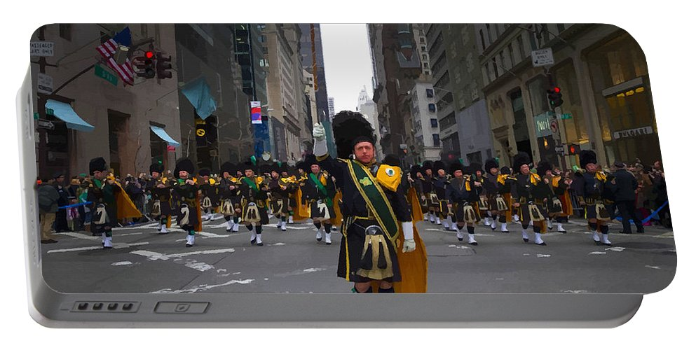 English Setter Portable Battery Charger featuring the digital art The New York City Police Emerald Society Pipe And Drum Corps by Don Kuing