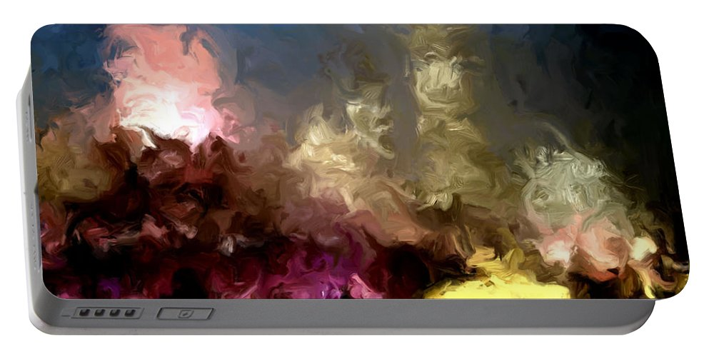 Pink Portable Battery Charger featuring the painting The Night Moves by Wayne Bonney