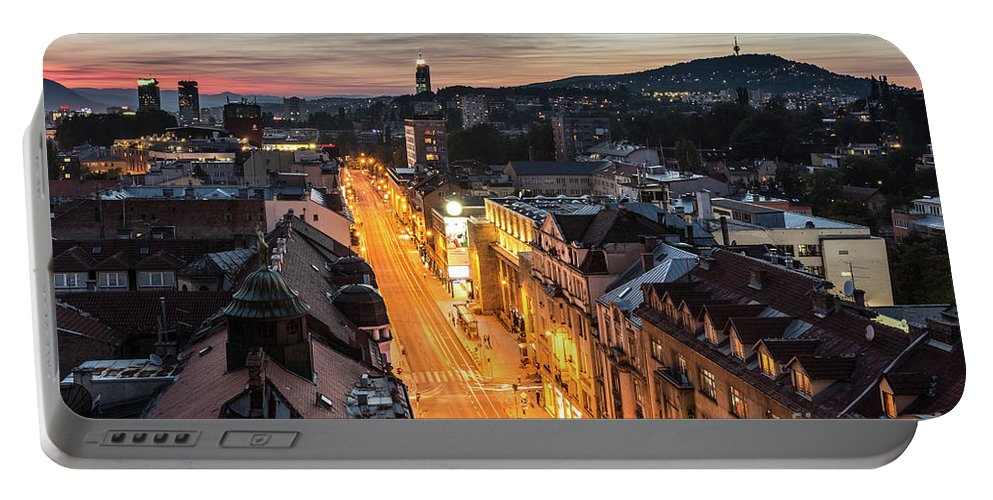 Balkan Portable Battery Charger featuring the photograph The Nights Of Sarajevo by Didier Marti
