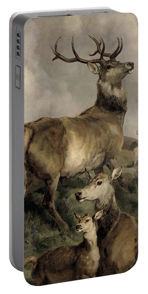 The Portable Battery Charger featuring the painting The Noble Beast by Sir Edwin Landseer