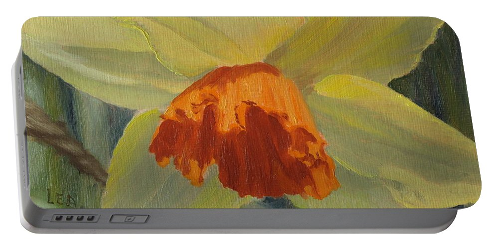 Flower Portable Battery Charger featuring the painting The Nodding Daffodil by Lea Novak