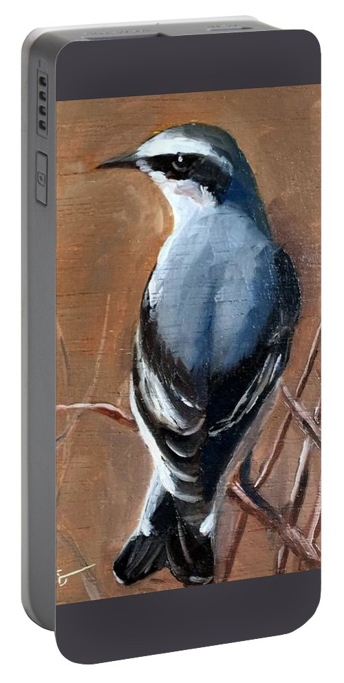 Birds Portable Battery Charger featuring the painting The Northern Wheatear by Sandhya Manne