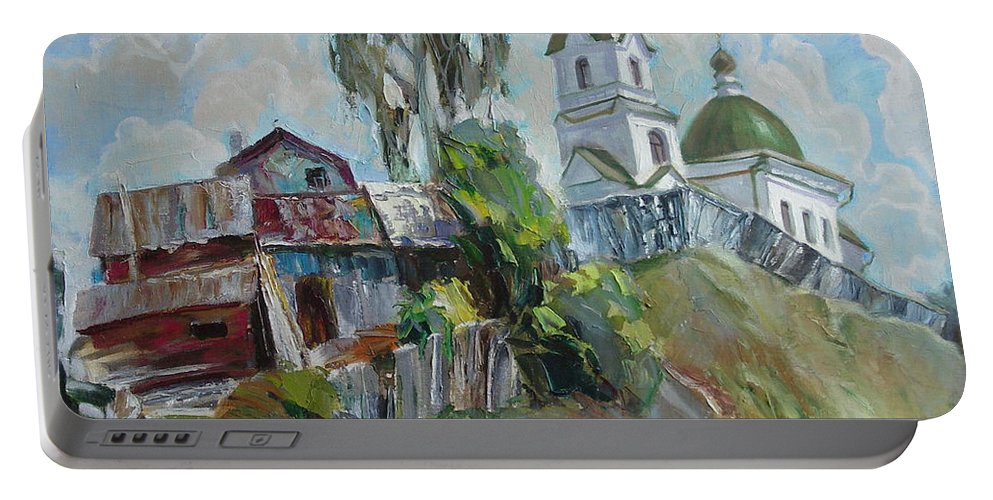 Oil Portable Battery Charger featuring the painting The Old And New by Sergey Ignatenko