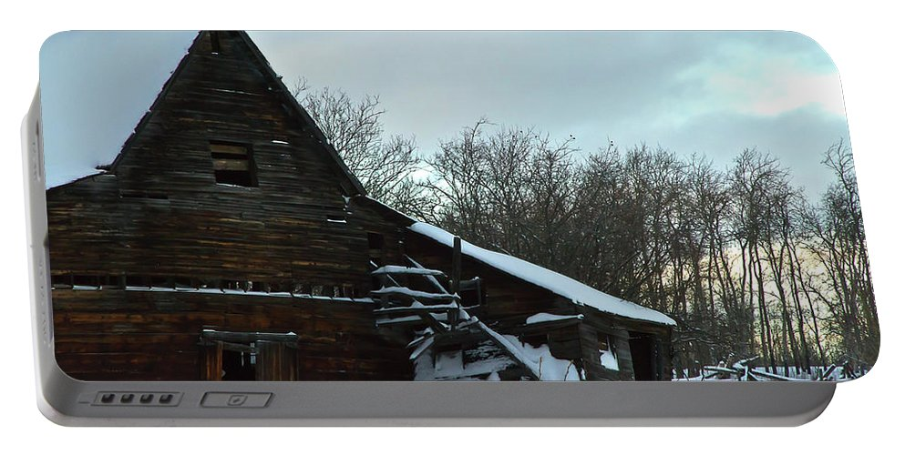 Barn Portable Battery Charger featuring the photograph The Old Barn Winter Scene by Sandra Foster