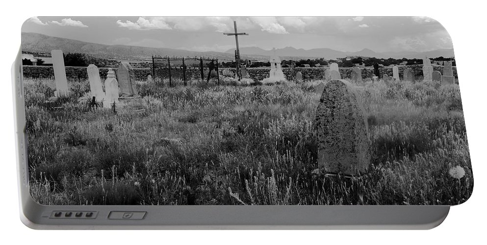 Galisteo New Mexico Portable Battery Charger featuring the photograph The Old Cemetery At Galisteo by David Lee Thompson