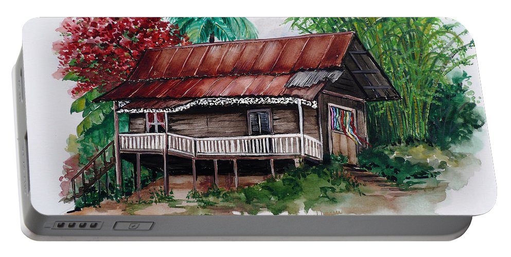 Tropical Painting Poincianna Painting Caribbean Painting Old House Painting Cocoa House Painting Trinidad And Tobago Painting  Tropical Painting Flamboyant Painting Poinciana Red Greeting Card Painting Portable Battery Charger featuring the painting The Old Cocoa House by Karin Dawn Kelshall- Best