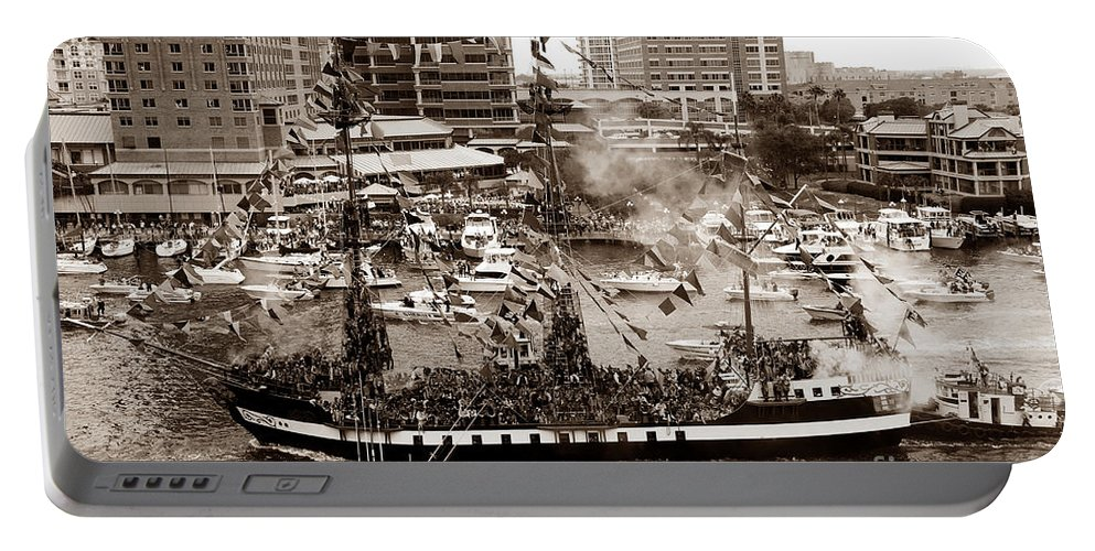 Gasparilla Portable Battery Charger featuring the photograph The Old Crew Of Gaspar by David Lee Thompson
