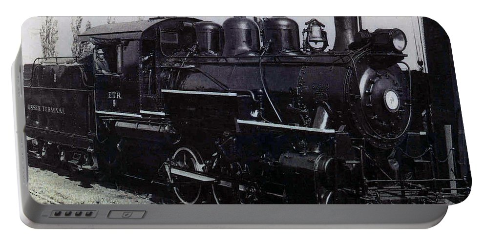 Old Photo Black And White Classic Saskatchewan Pioneers History Train Engine Portable Battery Charger featuring the photograph The Old Engine by Andrea Lawrence