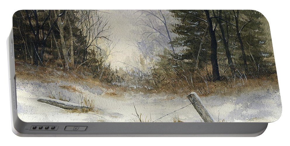 Snow Portable Battery Charger featuring the painting The Old Fence by Mary Tuomi