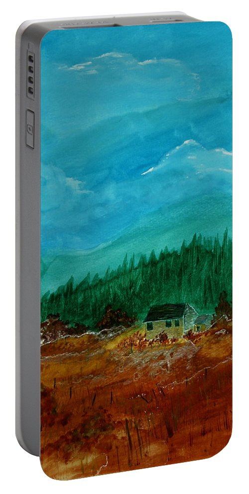 Watercolor Portable Battery Charger featuring the painting The Old Homestead by Donna Blackhall