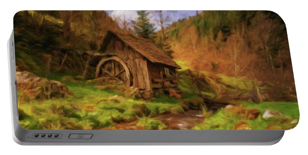 Landscape Portable Battery Charger featuring the painting The Old Mill by Sarah Kirk