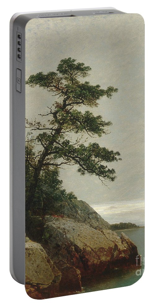 Kensett Portable Battery Charger featuring the painting The Old Pine, Darien, Connecticut, 1872 by John Frederick Kensett