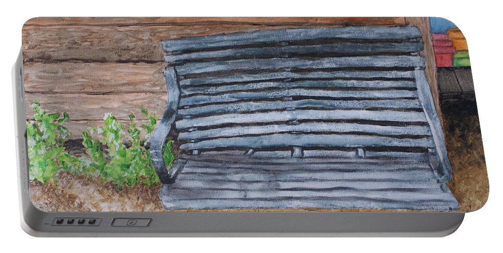 Shed Portable Battery Charger featuring the painting The Old Porch Swing by Jean Haynes