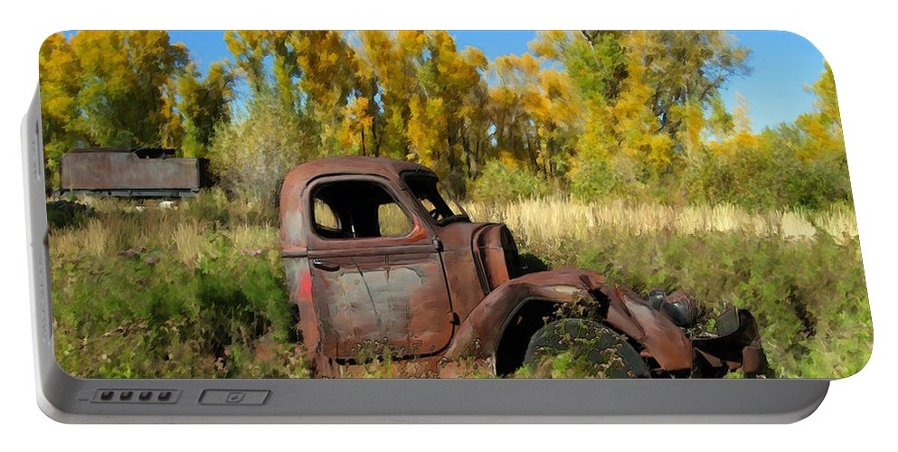 Truck Portable Battery Charger featuring the photograph The Old Truck Chama New Mexico by Kurt Van Wagner