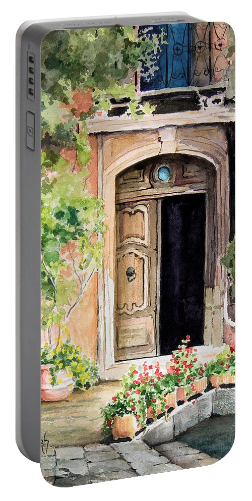 Door Portable Battery Charger featuring the painting The Open Door by Sam Sidders