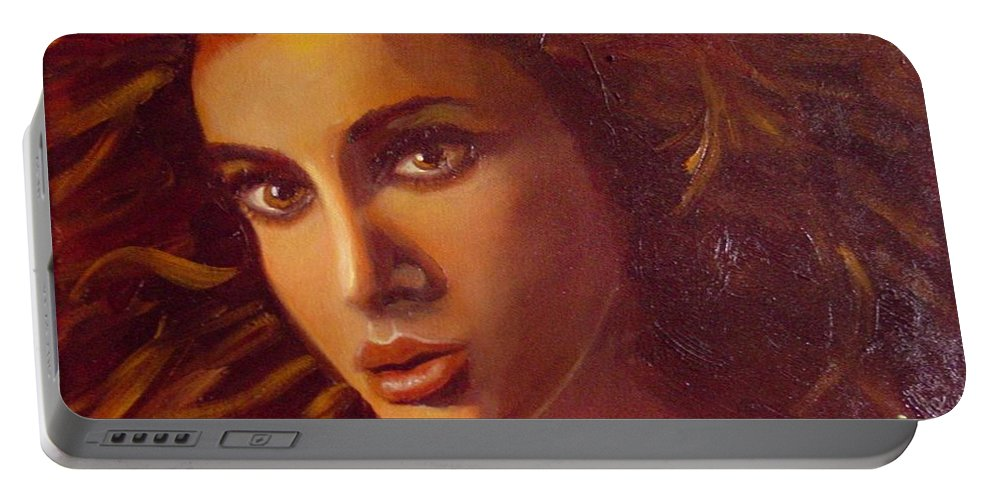 Portrait Portable Battery Charger featuring the painting The Oracle by Laurie Morgan